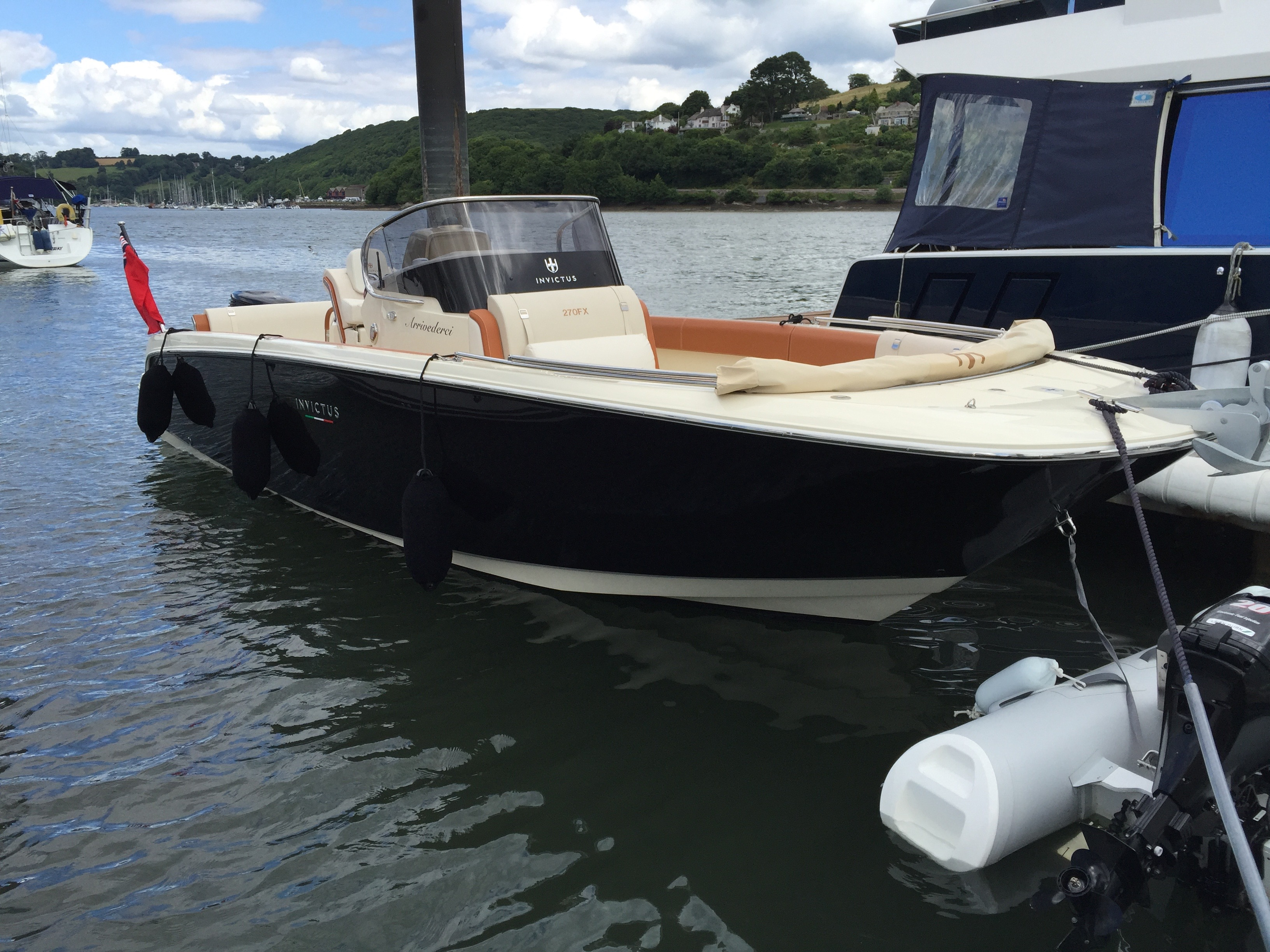 Invictus 270FX on her berth at Dart Marina